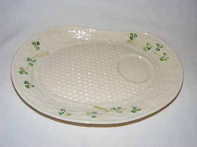 Vintage Belleek Ireland Porcelain Ivory Green Shamrock Teacup Lunch Tray Plate
