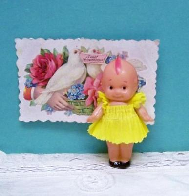 * Kewpie * Doll 3 Inch Celluloid ~ Crepe Paper Clothes Green Wings Japan Cupie