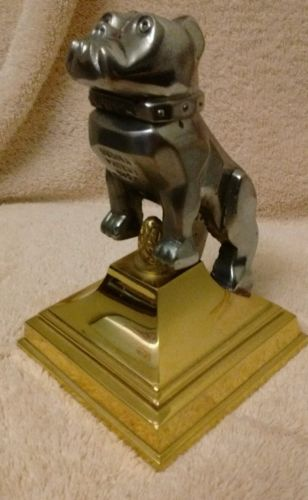 Vintage Original Mack Truck Bulldog Mascot Hood Ornament on Brass Base