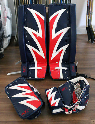 NAVY RED WHITE 34 INCH PAW Ice Hockey Goalie Leg pads + BONUS GLOVES