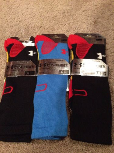 Under Armour C1N Cam Newton Crew Socks. Lot Of 3. Men's Large. Shoe Size 9-12.
