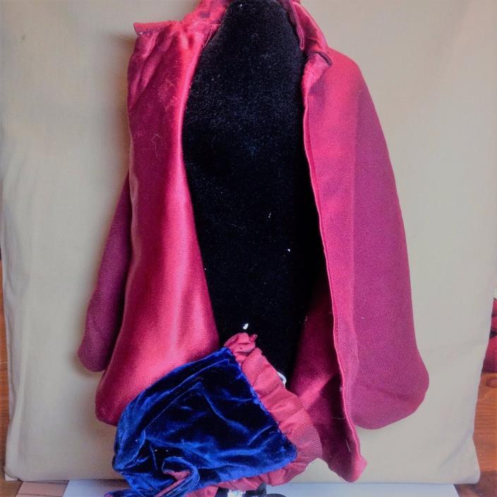 Vintage Antiqued Red Doll Cape and Velvet Bonnet