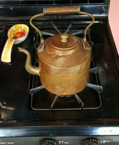 $ Reduced Old Rustic Antique Dovetailed Hammered Copper Teapot