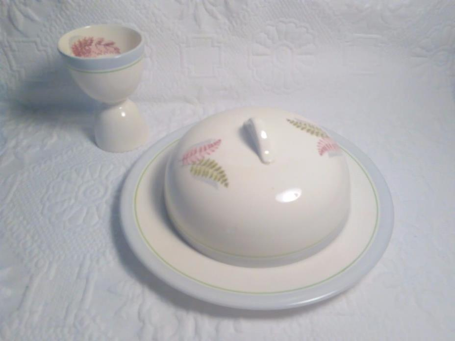 Steubenville Russel Wright Dishware 2 Piece Set Covered Dish and Egg Holder!