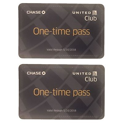 Two (2) United Club Airport Lounge One Day Passes - Exp 05/31/2018 *$100 VALUE**