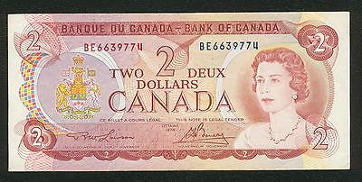 1974 Bank of Canada $2 two dollars Lawson Bouey prefix BE