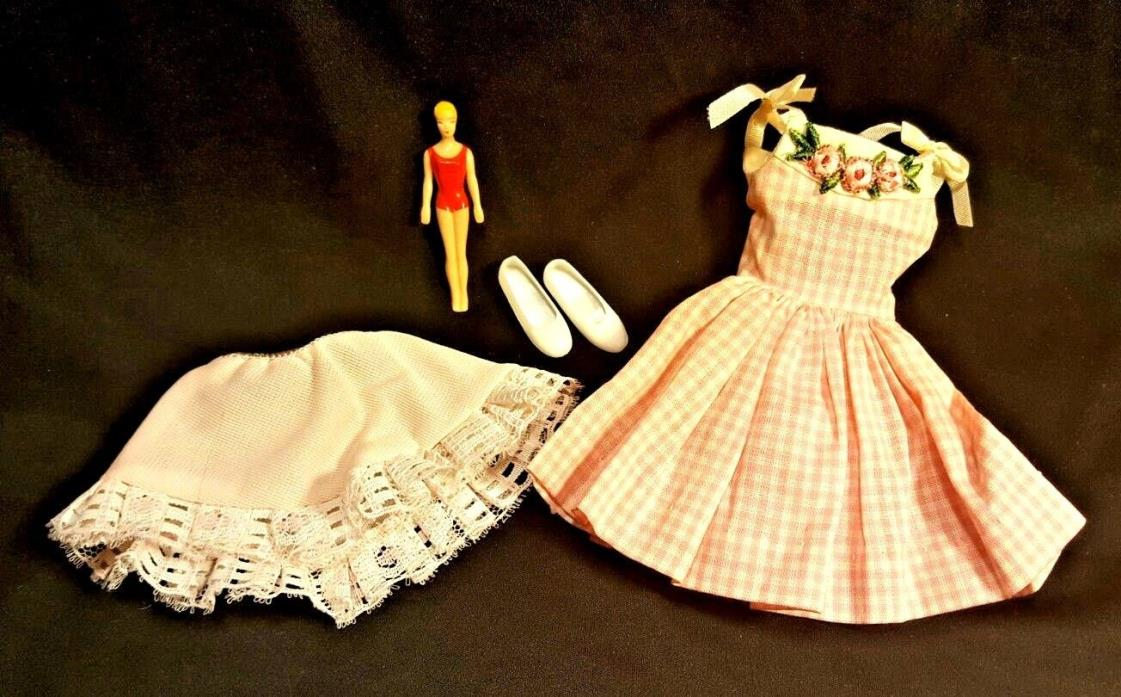 VTG Barbies Skipper Me N My Dolly Outfit 1913 Slip Miniature Doll Shoes Dress