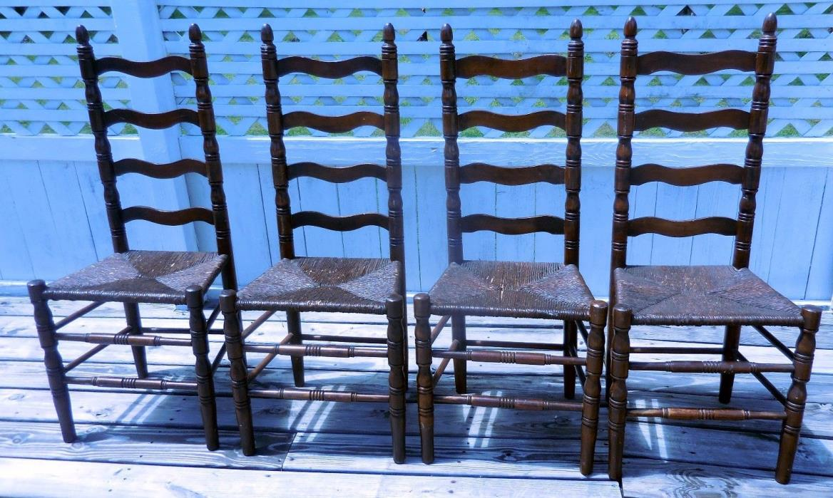 Set of 4 Vintage Country Ladder Back Rush Oak Pine Dining Chairs