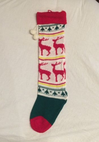 Vtg Knit Xmas Stockings Ugly Sweater Bag Holiday Green Red Deer Reindeer Pom Pom