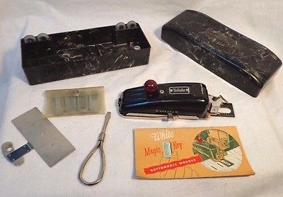 Vintage White Sewing Machine Button Hole Maker Complete Kit