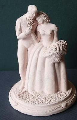 Vintage Rose Color Clay Molded Wedding Cake Topper Bride-Groom-Flower-Antebellum