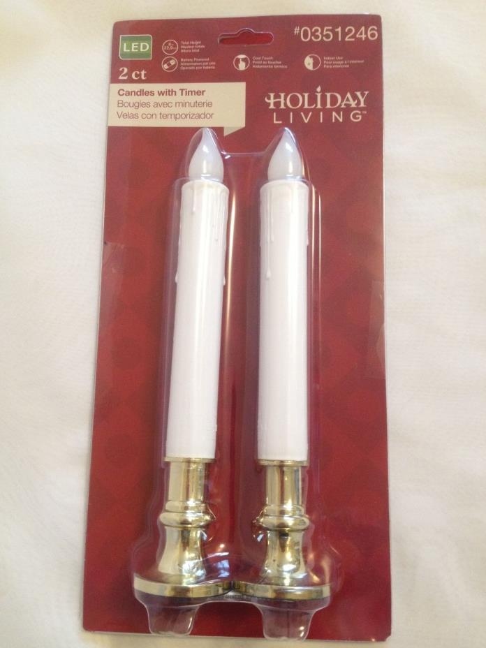 5Hrs Timer Candle WHITE FLAMELESS GOLD BASE Led Battery WINDOW TAPER 9