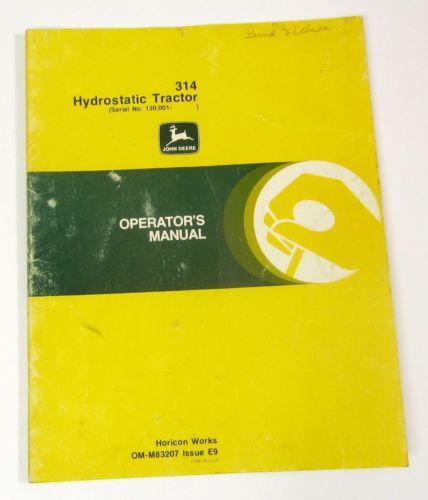 John Deere Operators Manual 314 Lawn Tractors