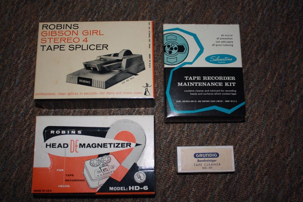 ROBINS GIBSON GIRL TAPE SPLICER AND HEAD DEMAGNETIZER WITH  SILVERTONE KIT