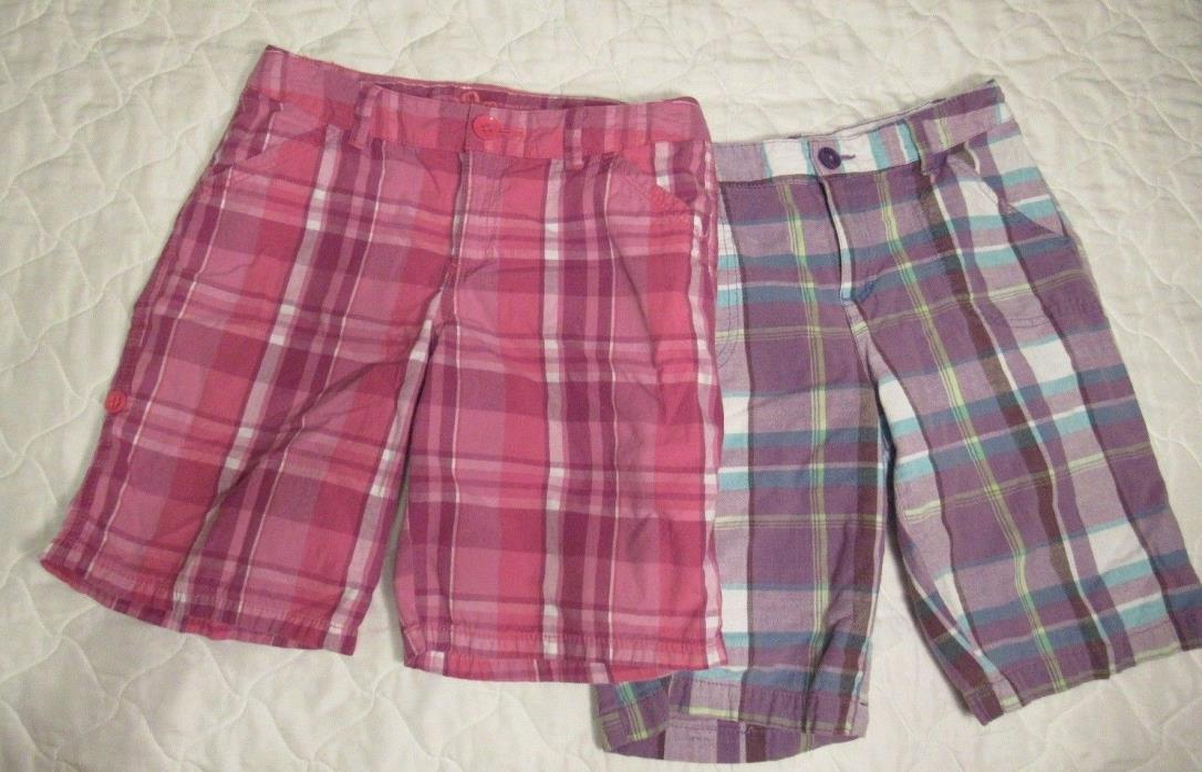 SO Girl's Lot of 2 Pink Purple Plaid Adjustable Waist Bermuda Shorts Size 14