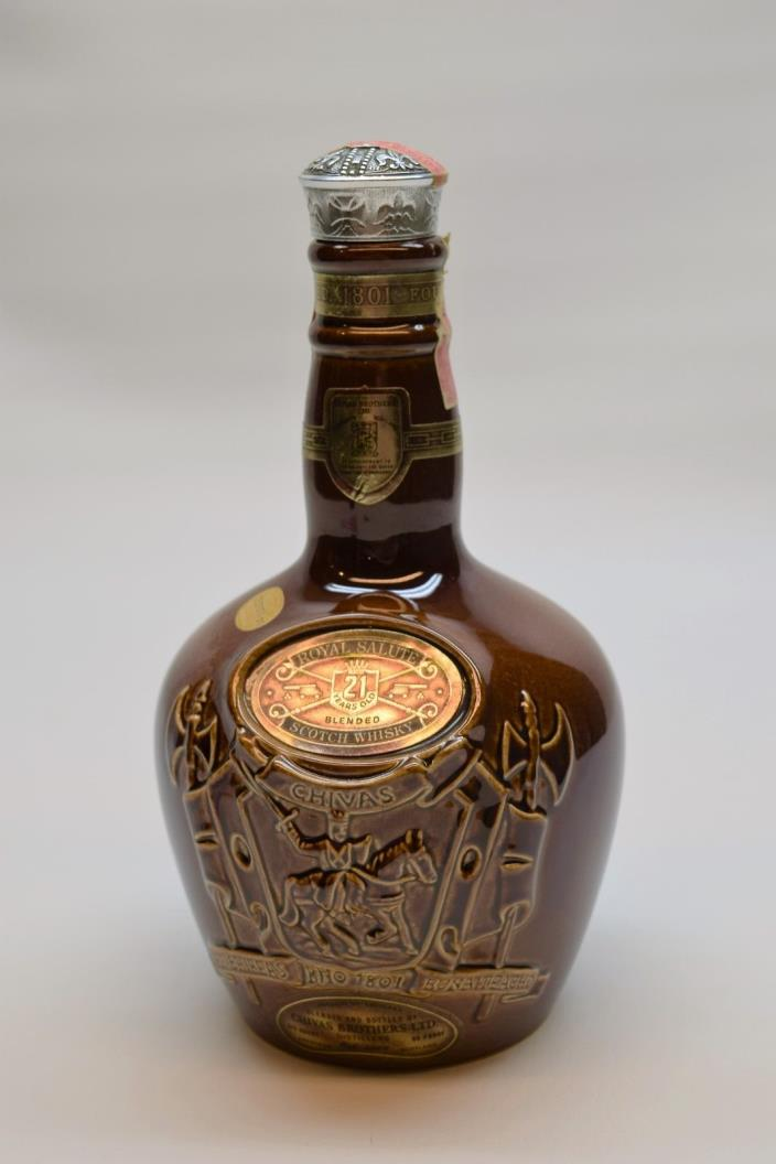 Chivas Brothers Royal Salute Scotch Whisky Decanter Brown Bottle made by Spode