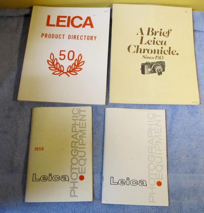 4 Vtg LEICA Booklet Lot BRIEF CHRONICLE/PHOTOGRAPHIC EQUIPMENT/50 DIRECTORY J177
