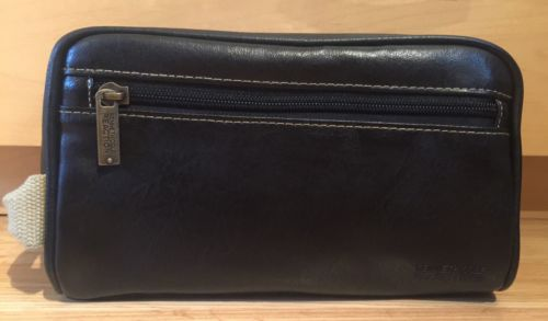 Mint Kenneth Cole Reaction Men's Black Faux Leather Toiletry Shaving Travel Bag