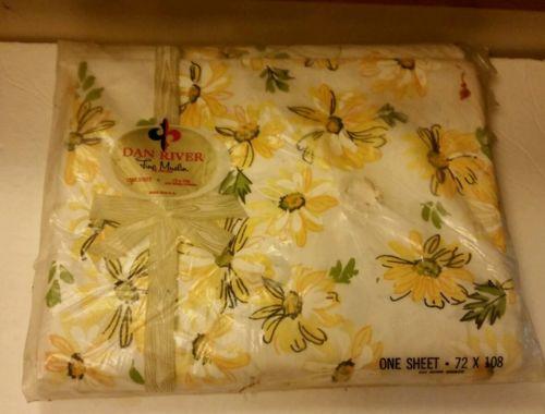 Vintage Dan River Sheet yellow floral 72 x 108 Unused in Package