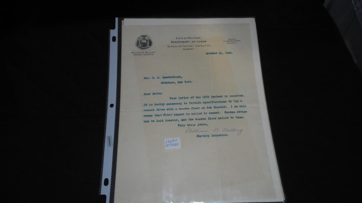 STATE OF NY FACTORY INSPECTOR  FLOOR ISSUES LETTER TO H.M. QUACKENBUSH EPHEMERA
