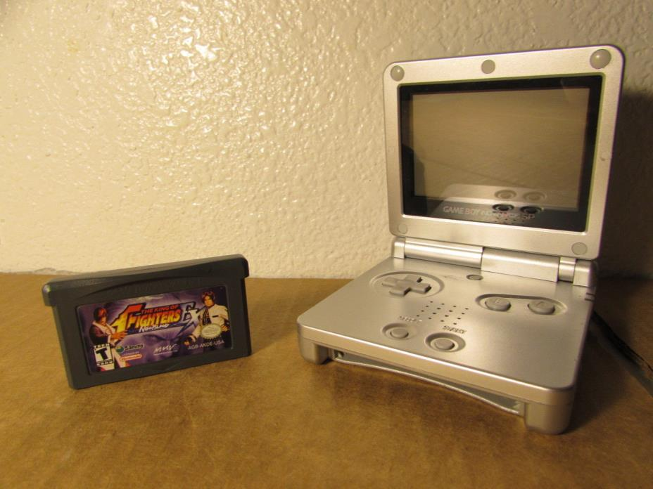 Nintendo Game Boy Advance SP AGS-001 Silver Handheld With King of Fighters Game