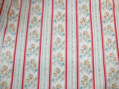 Ticking Stripe Quilt Fabric Floral Flowers Red Stripes BTY
