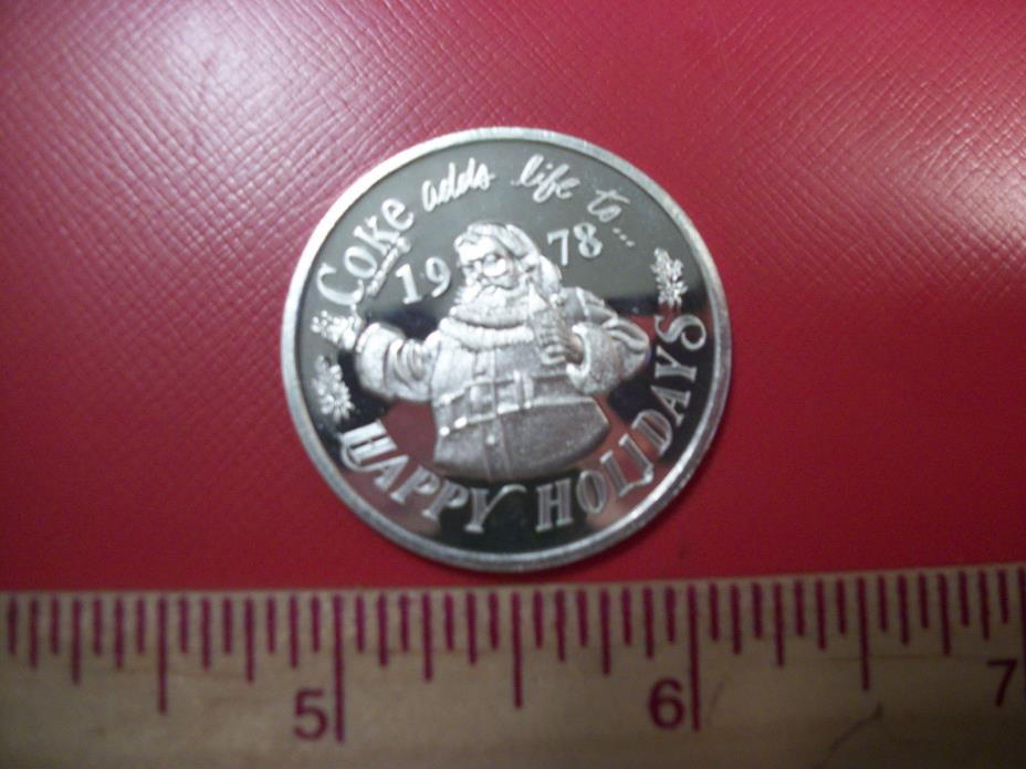 .999 1/2 TROY OZ SILVER INGOT BAR ROUND COIN COKE COCA COLA  CHRISTMAS 1978 RARE