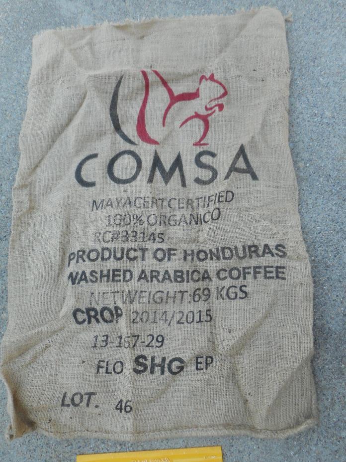 VINTAGE ARABICA COFFEE BEAN SACK COMSA 100% ORGANIC HONDURAS JUTE BURLAP BAG