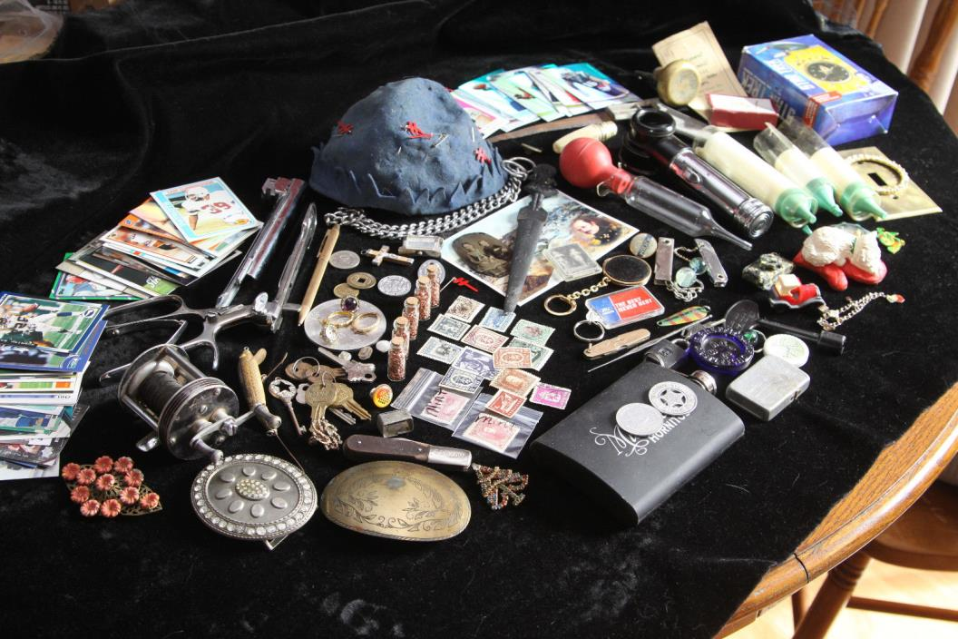 Vintage Junk Lot - Copper - Pins - Buckles - Stamps - Cards - Reel - Surgical