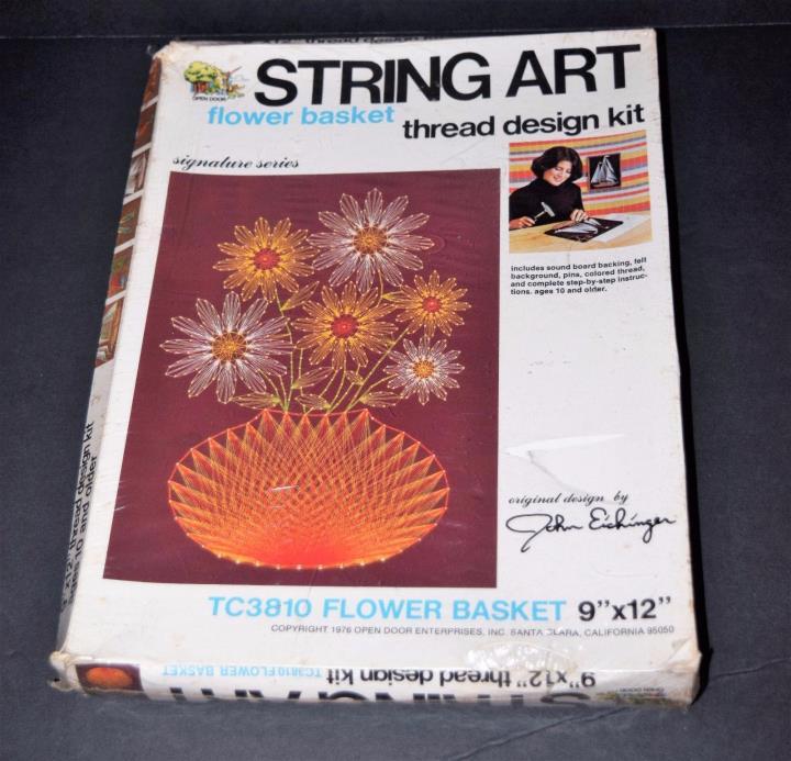 String Art Kit Flower Basket Open Door Enterprises Vintage TC3810 NEW