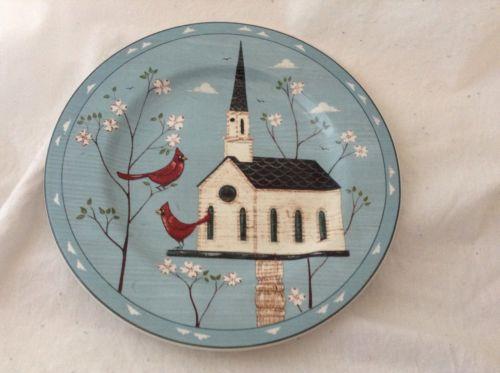 Sakura Stoneware Warren Kimble Birdhouse CHURCH Salad  Plate 8-1/4