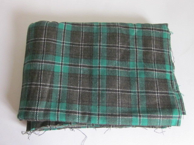Vintage Black White Green Plaid Wool Fabric 3 Yards