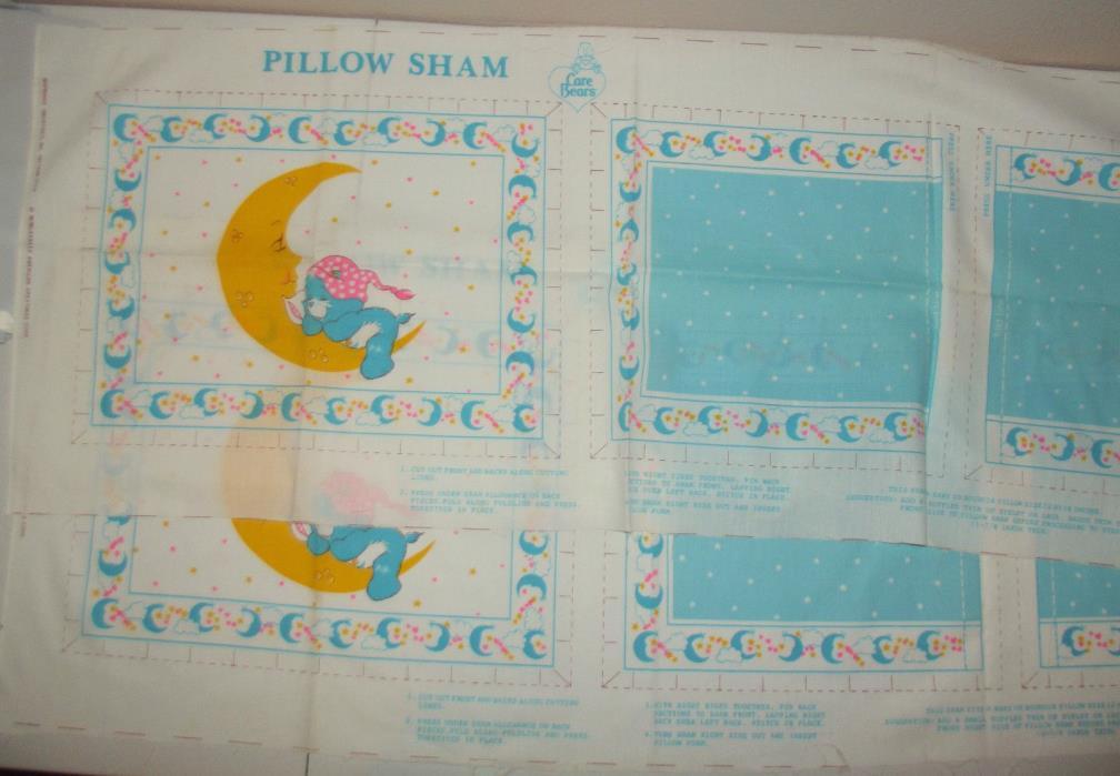 2 Vtg Care Bears Blue Cotton Fabric Pillow Sham Panel 1980 American Greetings
