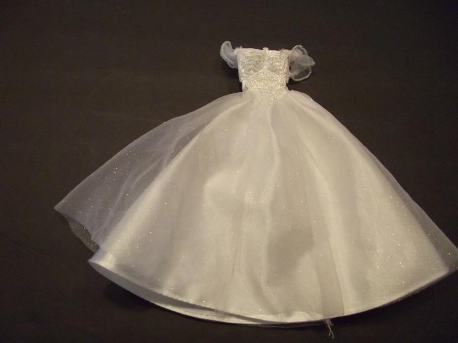 Vintage Barbie Doll Wedding Dress White Satin with Overlay