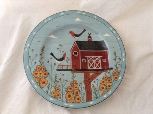 Sakura Stoneware Warren Kimble Birdhouse RED BARN Salad  Plate 8-1/4