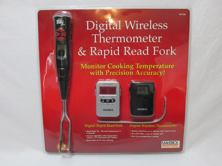 Digital Wireless LCD Cooking BBQ Grill Oven Thermometer & Rapid Read Fork Smoker