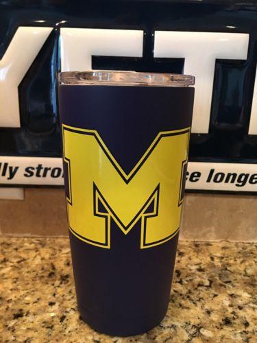 YETI Rambler Tumbler 20oz--Powder Coated Satin Navy Blue Michigan Wolverines!