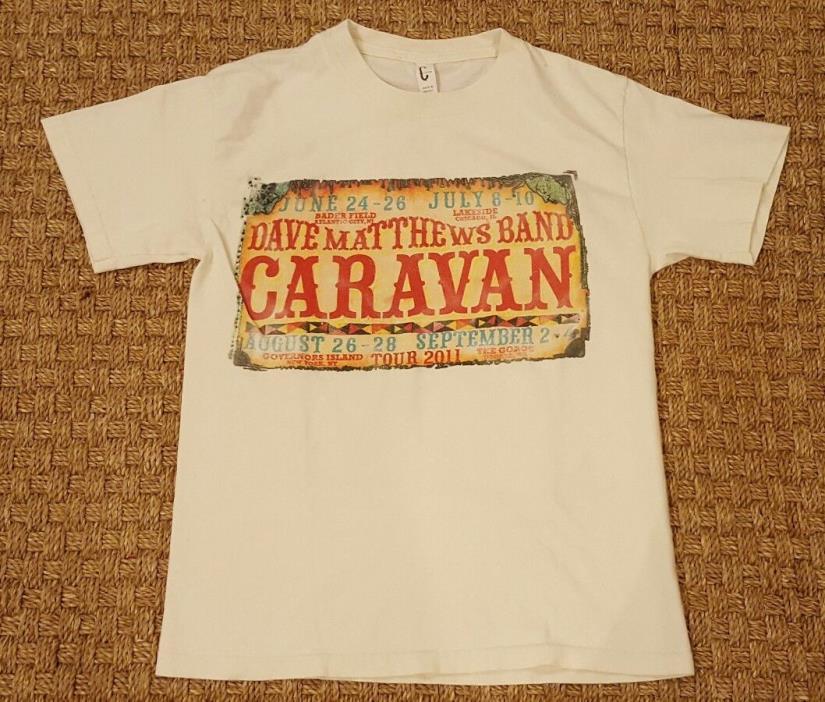DAVE MATTHEWS BAND CARAVAN 2011 concert tee off white tour line-up t-shirt sz S