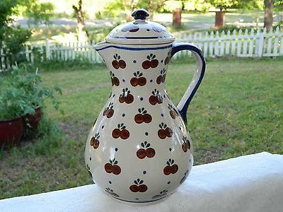 Polish Pottery Large Pitcher w/ lid Cherry Pattern - Boleslawiec - NEW