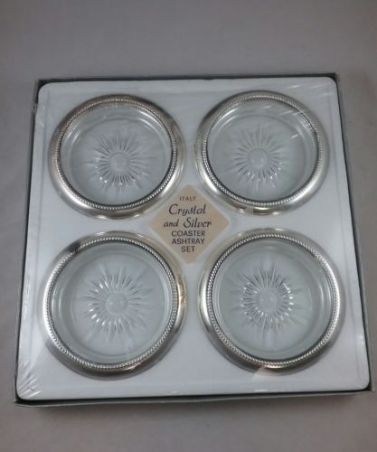 Vintage Italian Sterling Silver Plate Crystal Coasters Starburst Scroll