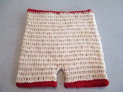 ANTIQUE VINTAGE Cream KNIT Hand Made DOLL SHORTS With Red Trim 4.5