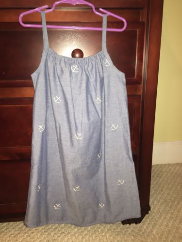 Kellys Kids Chambray Anchors Beach Picture Sun Dress New Size 8 10