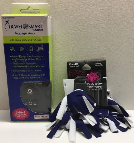 Conair Travel Smart Luggage Strap With Scale & Set Of Pomchies