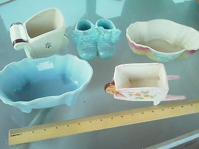 Vintage Ceramic Planter Lot, Baby Shoes, Wheel Barrow and Others