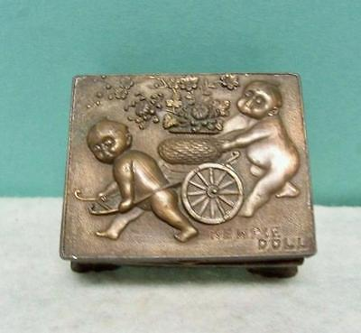 Antique Brass Kewpie Jewelry Trinket Box 2 Kewpies In Relief  Kewpie Doll Rare