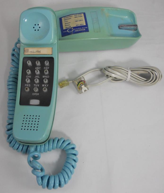 Vintage ITT Light Blue Trimline Desk Telephone Touchtone Push Button & wall cord