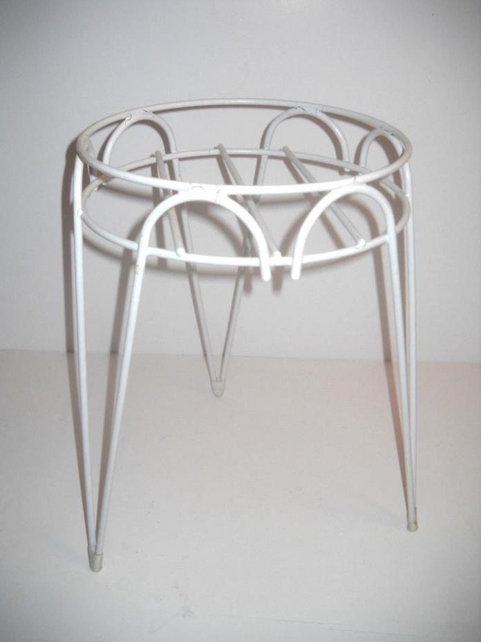 VINTAGE STYLE MID CENTURY HAIRPIN LEGED COATED WHITE METAL PLANT STAND 15'' X 10