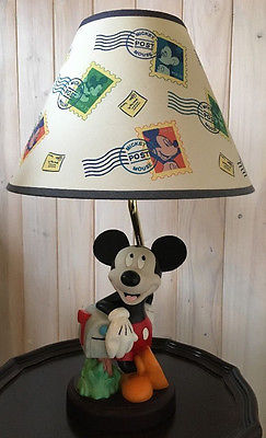 Vintage Ceramic Disney Mickey Mouse Lamp w/ Original Shade-Tested & Works