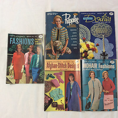 Vintage Lot 5 Magazines Knitting Crocheting Coats & Clarks American Thread Co