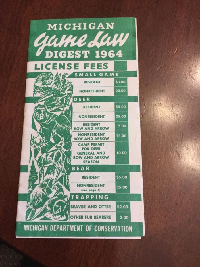 1964 Michigan Game Law Digest Conservation Hunting Fur Traps License MI